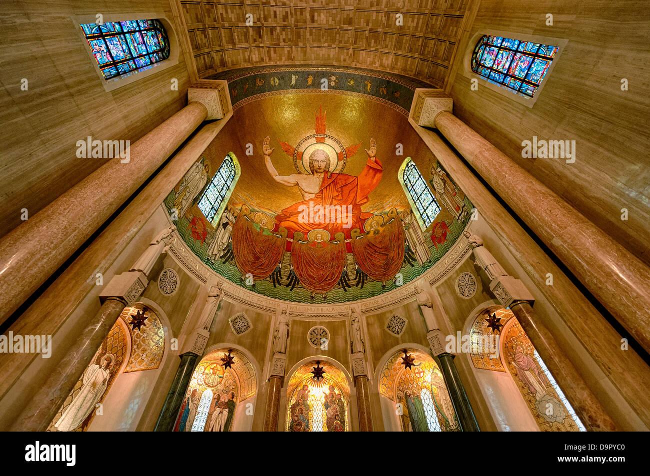 Christ in der Majestät, North Apsis, Basilica des nationalen Schreins der Unbefleckten Empfängnis, Washington Stockbild