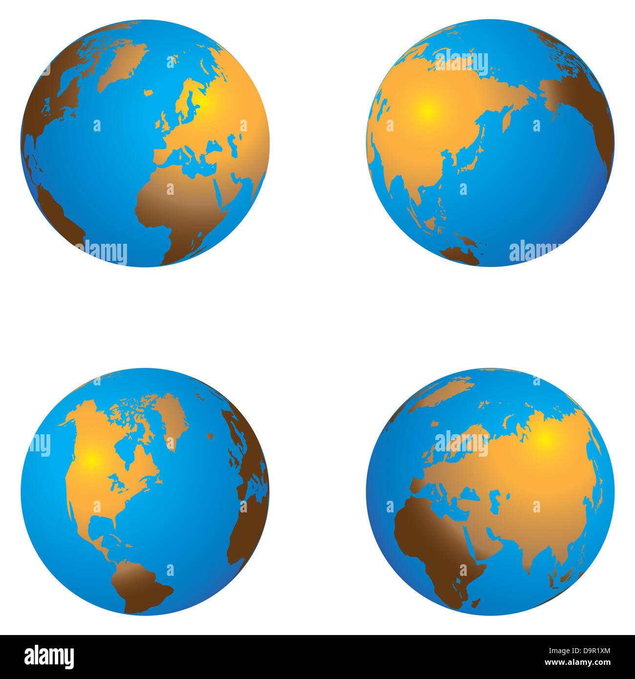 Geräumig Weltkugel 3d Dekoration Von Farbe Kontinent 3d- Mit Verschiedenen Ansichten
