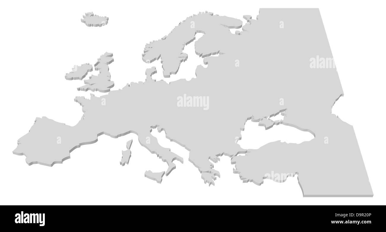 Karte Europa Schwarz Weiss.Schwarz Weiss 3d Karte Der Europaischen Lander Stockfoto