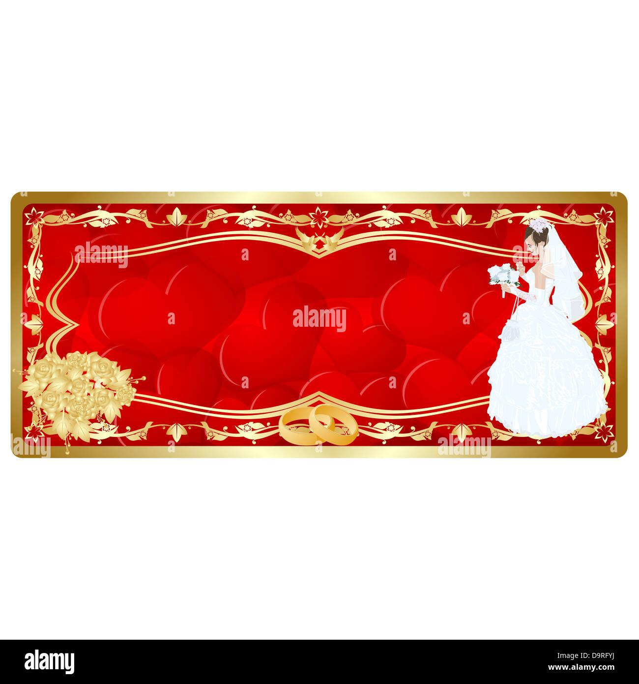 Hochzeitskarten Abbildung Auf Einem Weissen Hintergrund Stockfoto