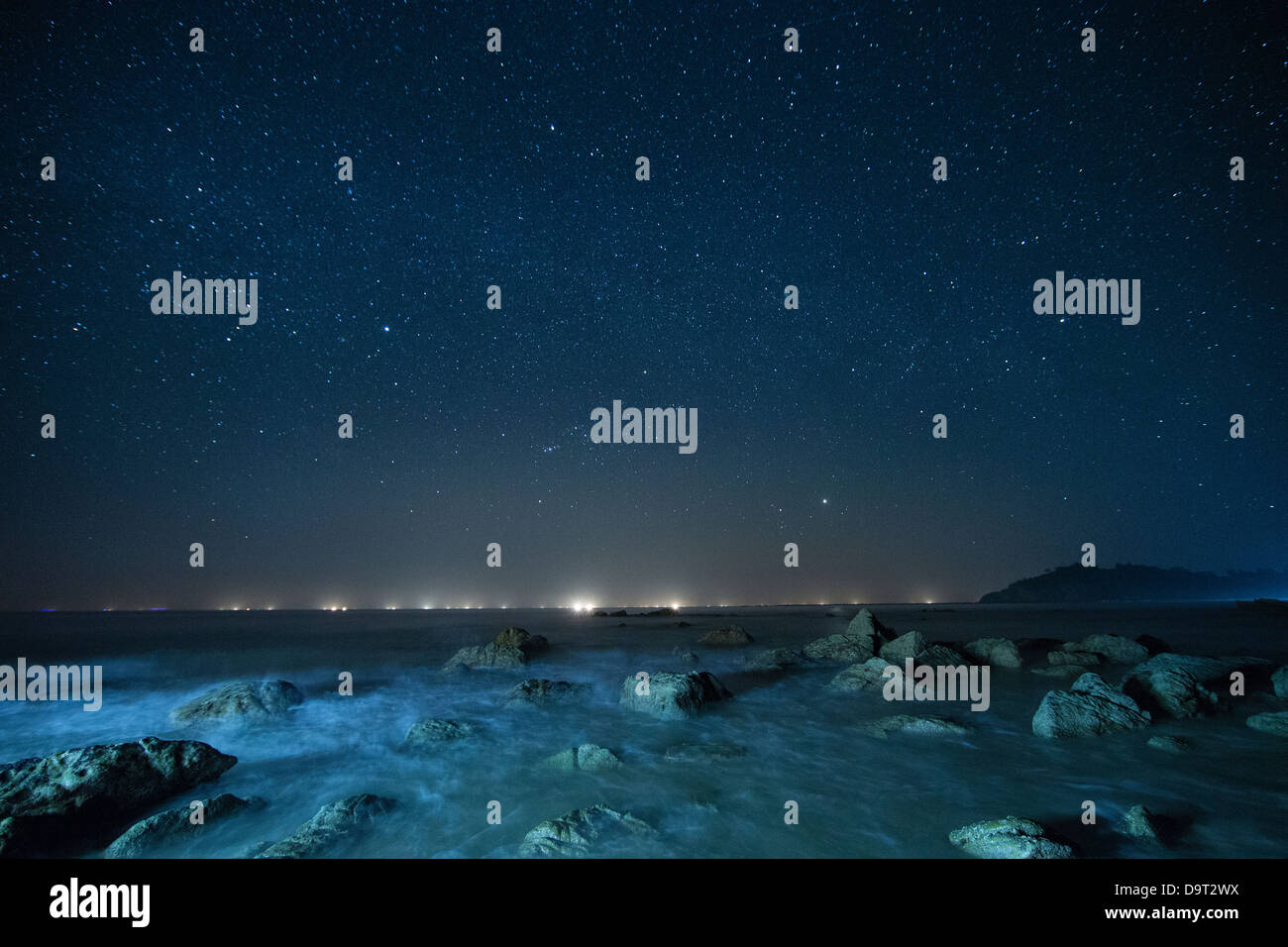 den Nachthimmel über dem Golf von Bengalen, Ngapali Beach, Rakhine, Myanmar (Burma) Stockbild