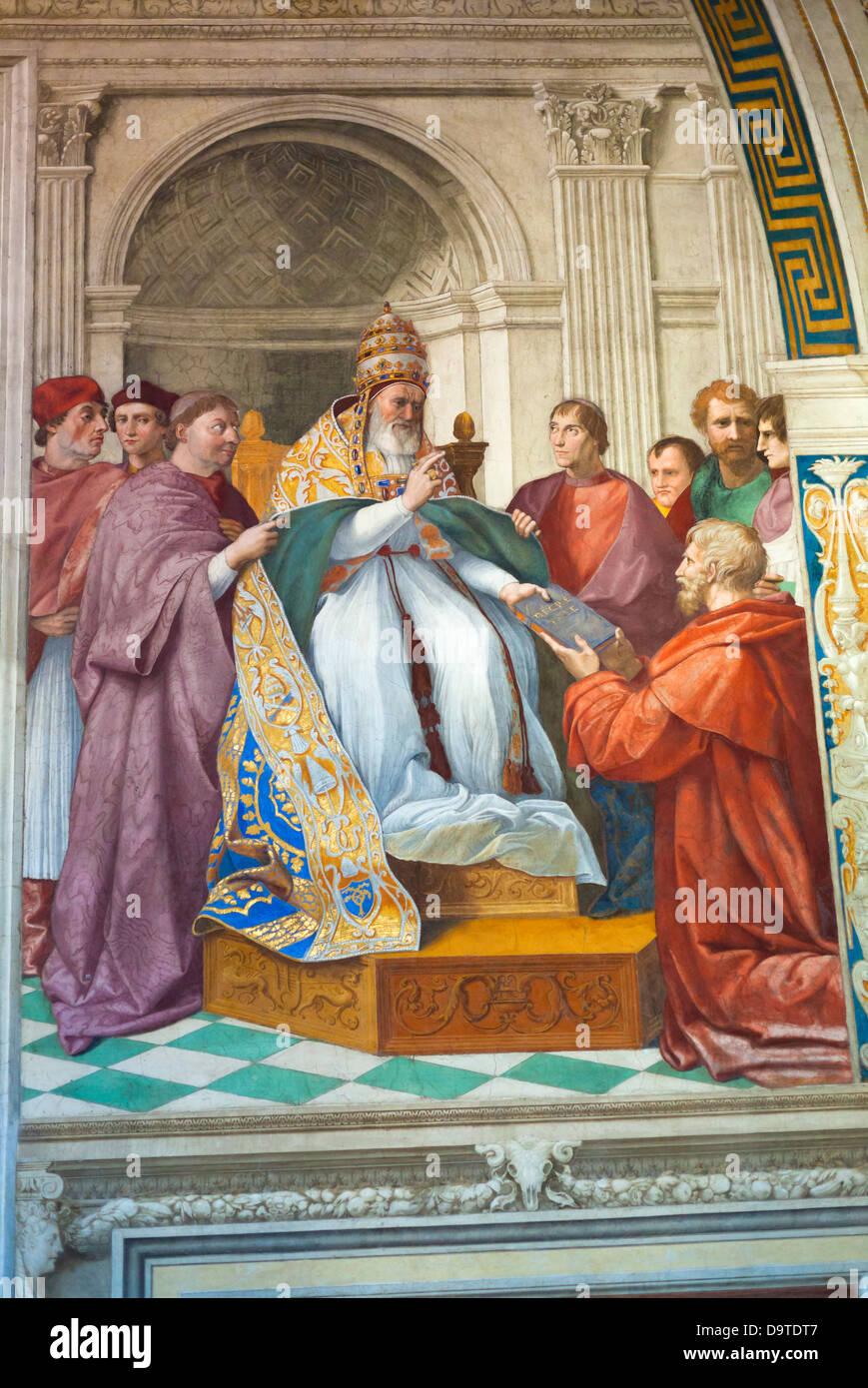 Die Lieferung der Dekretalen an Papst Gregory IX, Zimmer der Signatur, die Stanzen des Raffael, Raphael, Vatikanische Stockbild