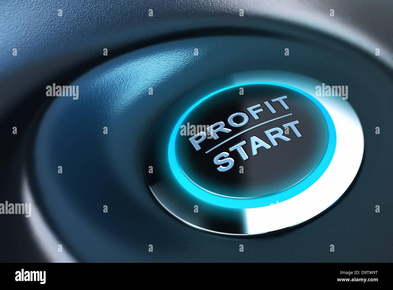 Ergebnis Taste mit blauem Licht. 3D-Render über Blau und Schwarz Hintergrund geeignet für Capital Management Stockbild