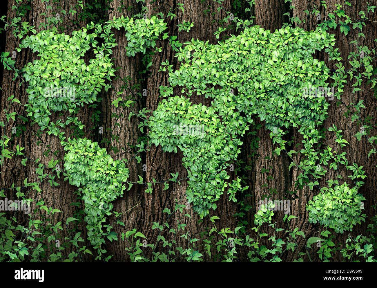 Globale Entwicklung und die grüne Wirtschaft als ein Businesss-Konzept mit einer Karte der Welt von verlässt Stockbild