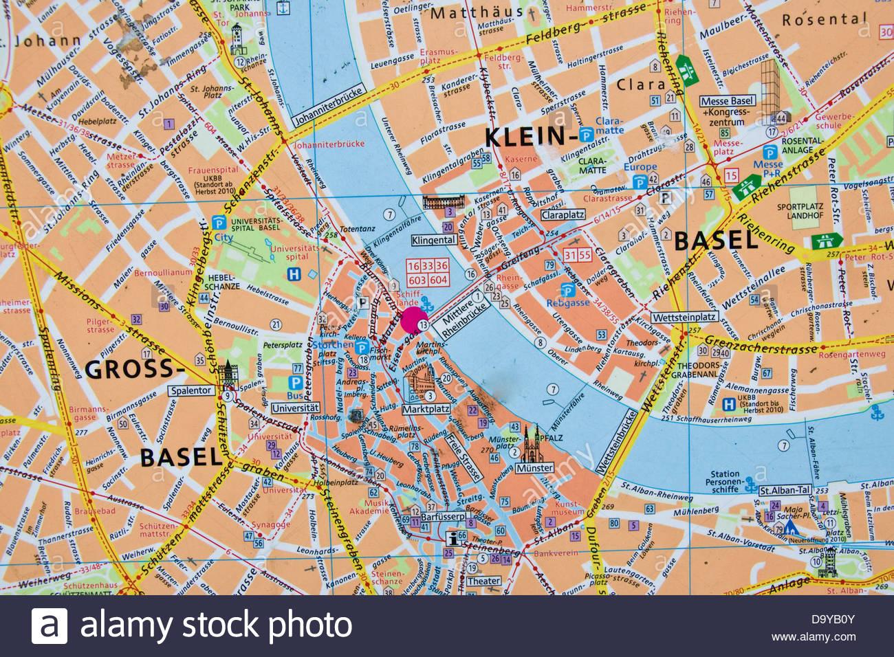 basel karte Die Innenstadt von Karte, Basel, Schweiz Stockfoto, Bild: 57764363  basel karte