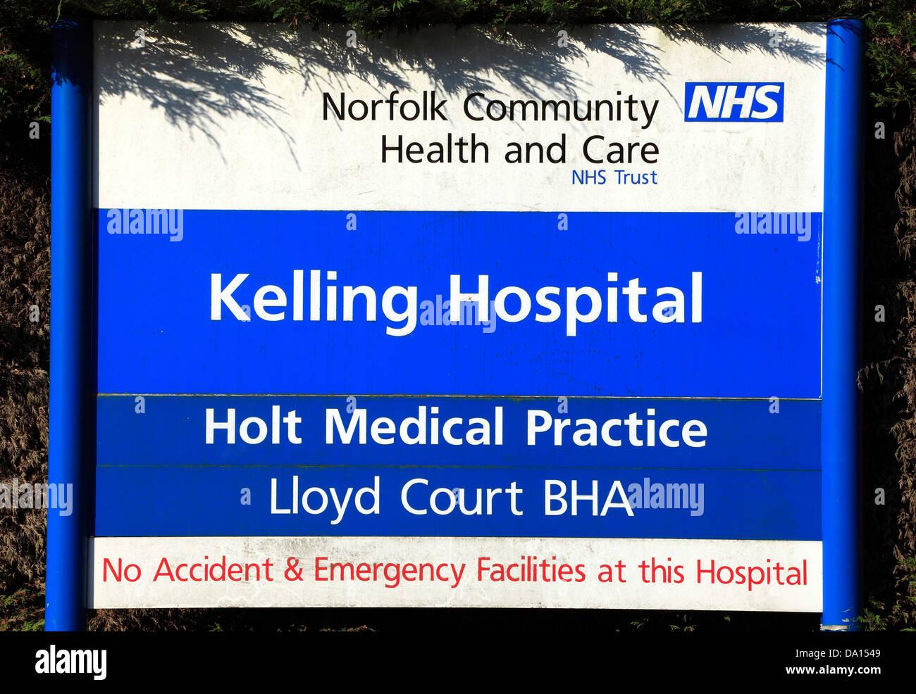 Kelling Krankenhaus, Norfolk, England, UK Stockbild