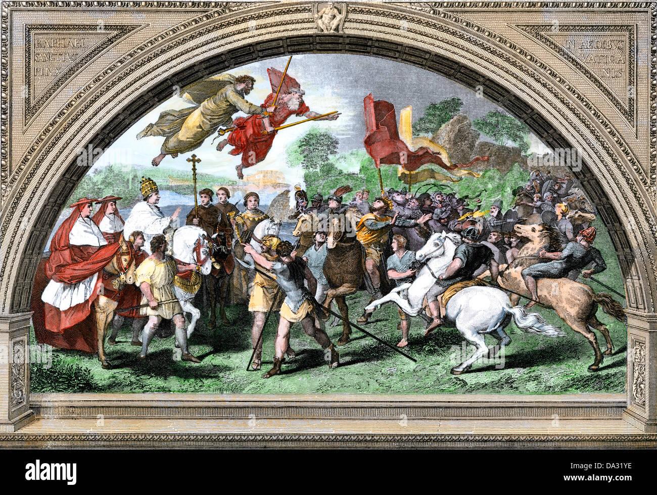 Attila und die Hunnen zu überwinden, die durch die Kräfte des Christentums. Hand - farbige Holzschnitt Stockbild