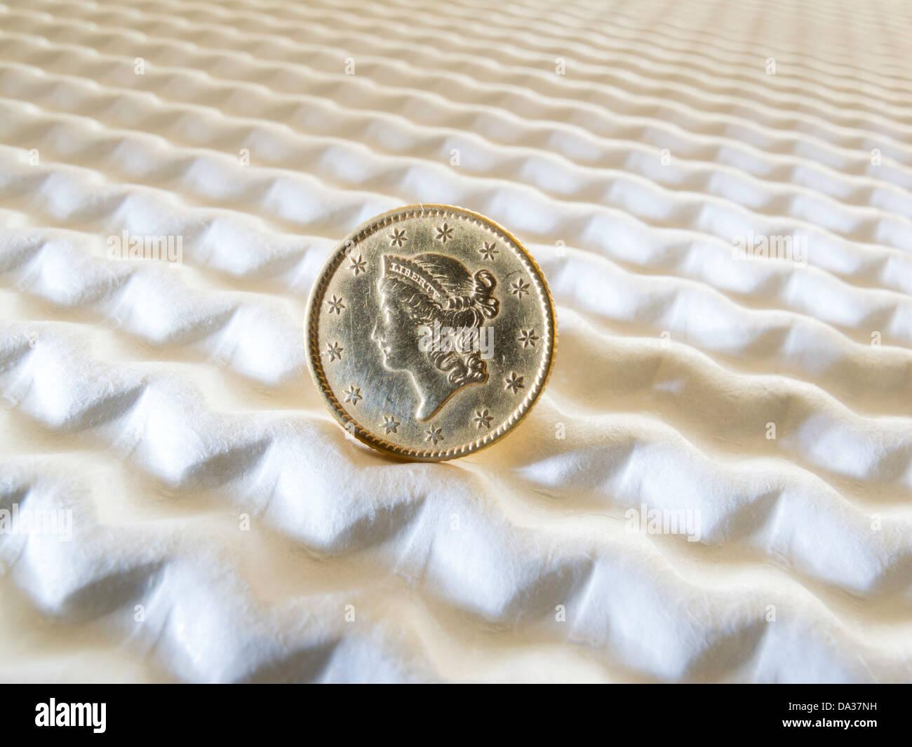 Jahrgang 1849 1953 Liberty Gold Us Ein Dollar Münze Stockfoto