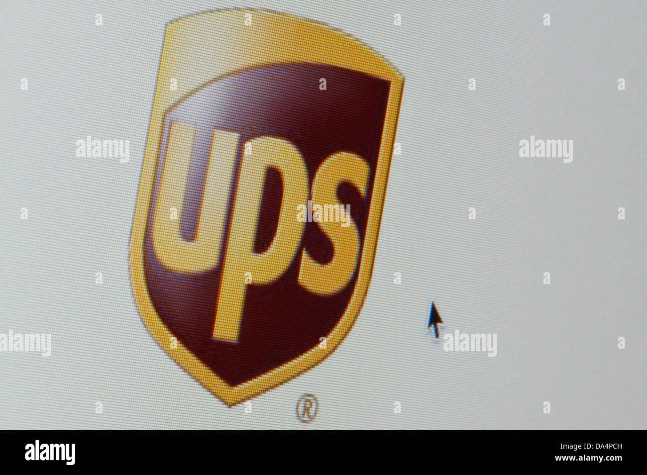 Nahaufnahme von der UPS-Logo, wie auf ihrer Website zu sehen. (Nur zur redaktionellen Verwendung: print, TV, e-Book Stockbild