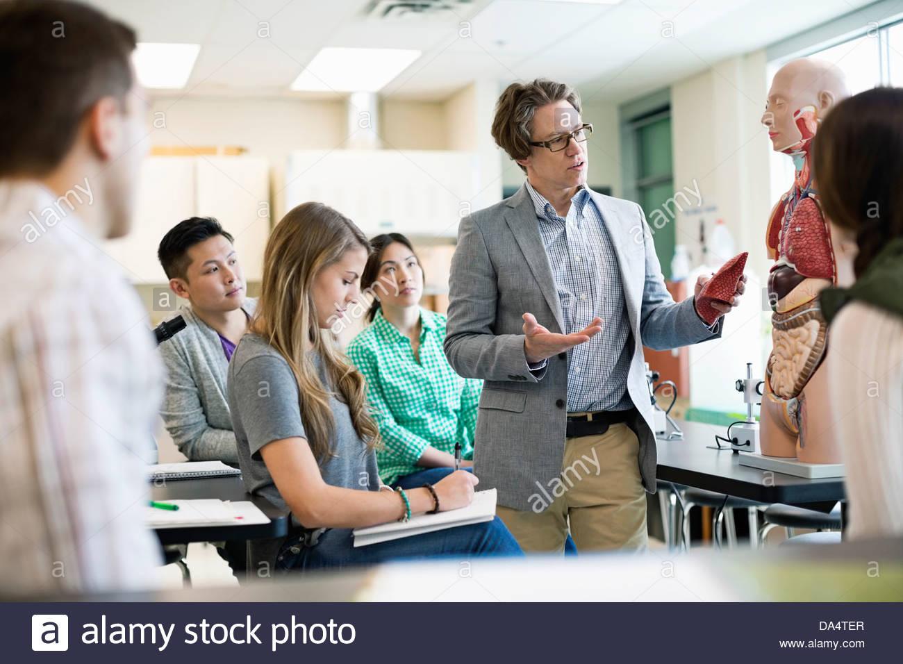 Männliche Schüler Professor Anatomie im College Science Lab ...