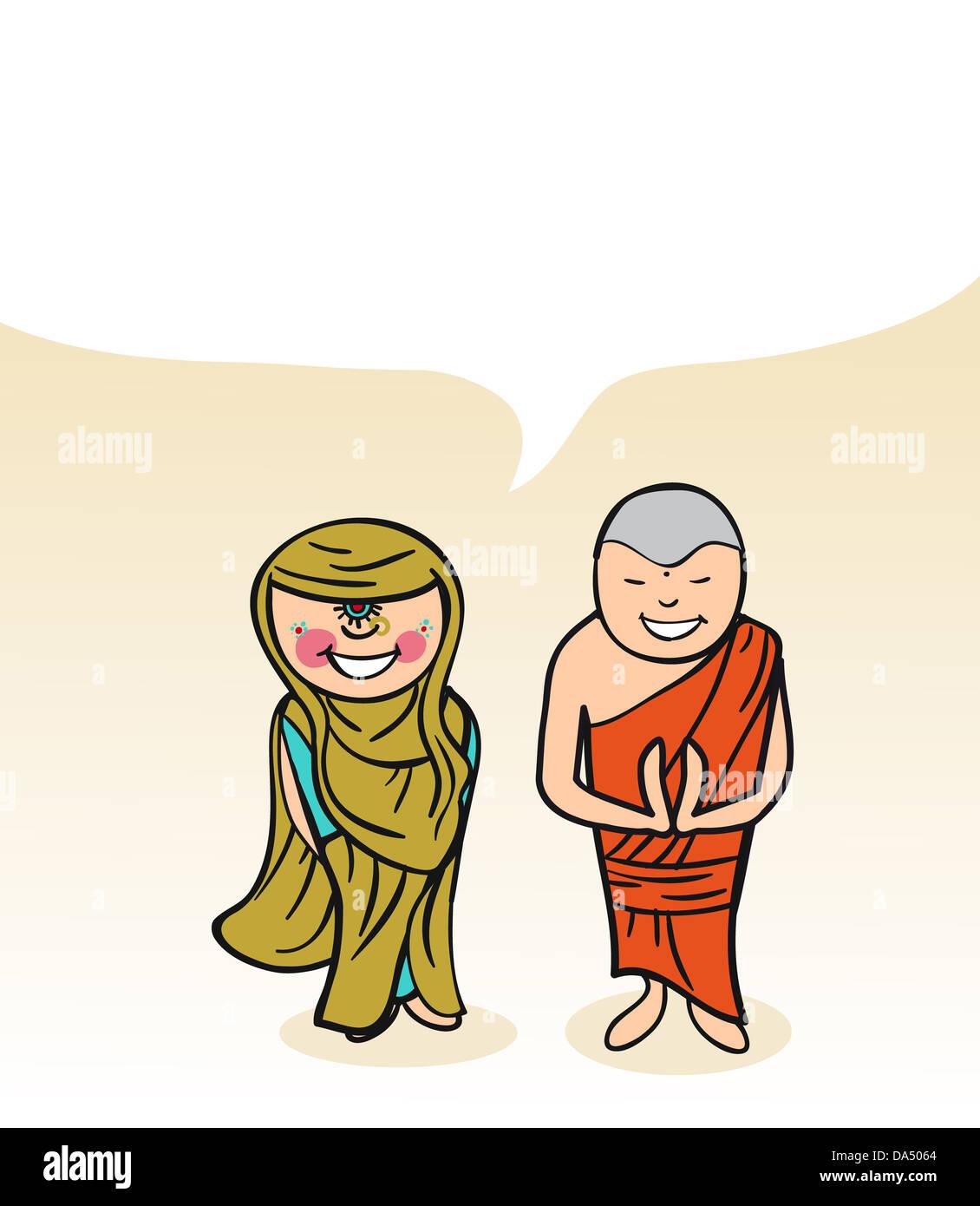 Indische Mann und Frau Cartoon paar mit Dialog-Blase. Vektor ...