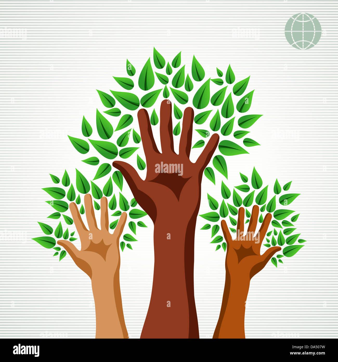 Speichern Sie die Erde Baum Idee mit Händen Hintergrund. Diese ...