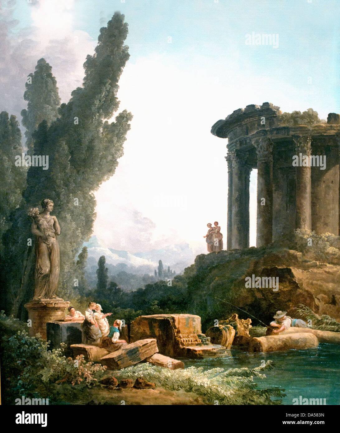 Antike Ruinen Mädchen vor einer Statue vor einer Statue von Fülle 1779 Hubert Robert 1733-1808 Frankreich Stockbild