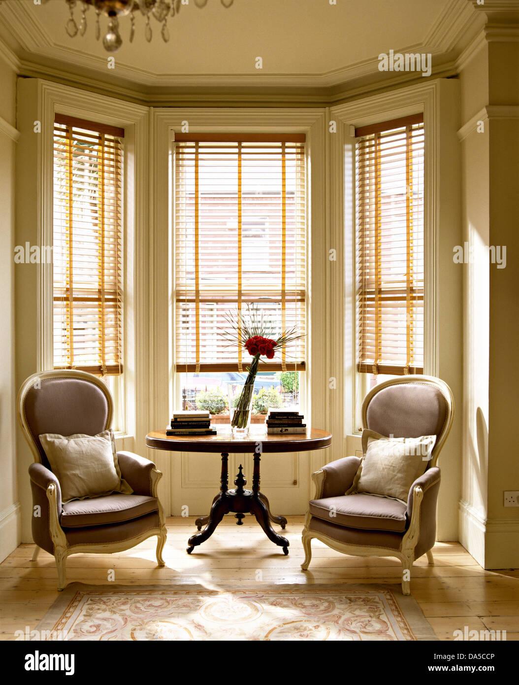 Wohnzimmer mit paar viktorianischen Stil Stühle auf beiden Seiten ...