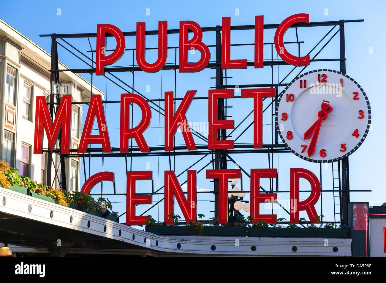 Seattle Public Market Center Zeichen, Pike Place Market, Seattle WA, Vereinigte Staaten Stockfoto