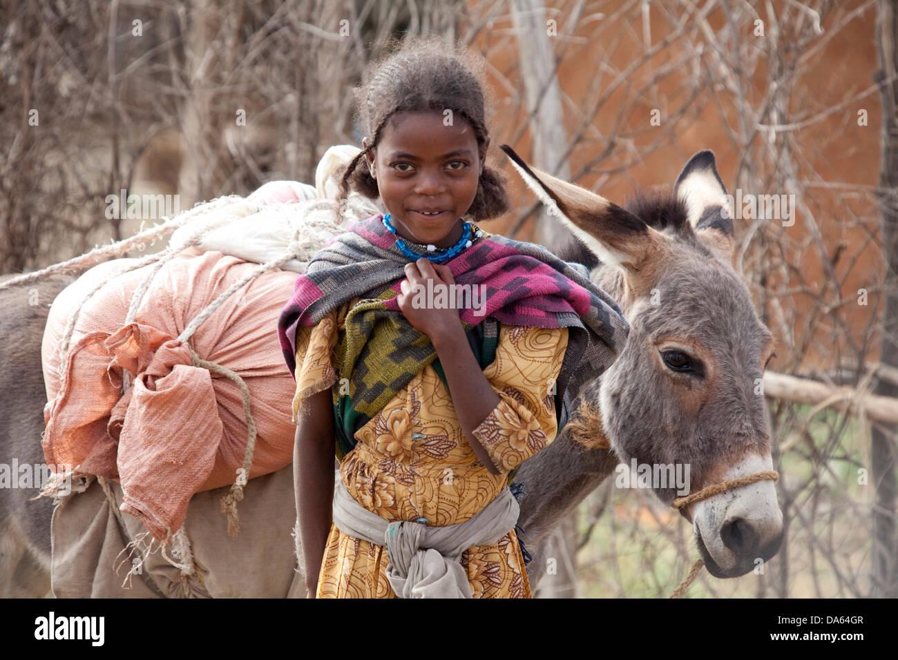 Menschen, Oromo, Äthiopien, Stamm, Afrika, Trinkwasser, Stockbild