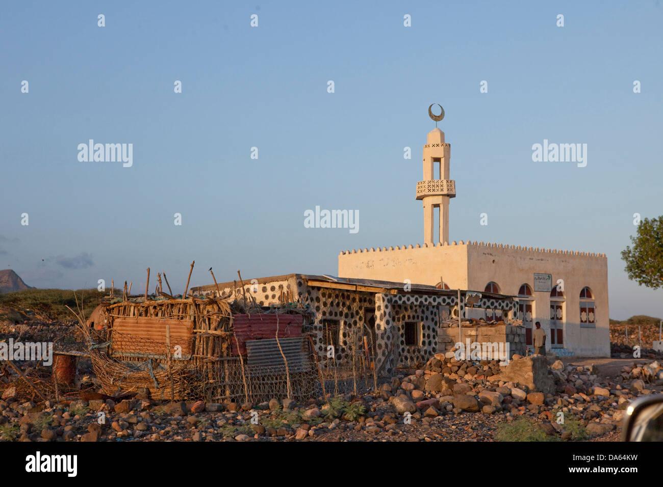 Tadjoura, Rotes Meer, Afrika, Tourismus, Dschibuti, Minarett Stockbild