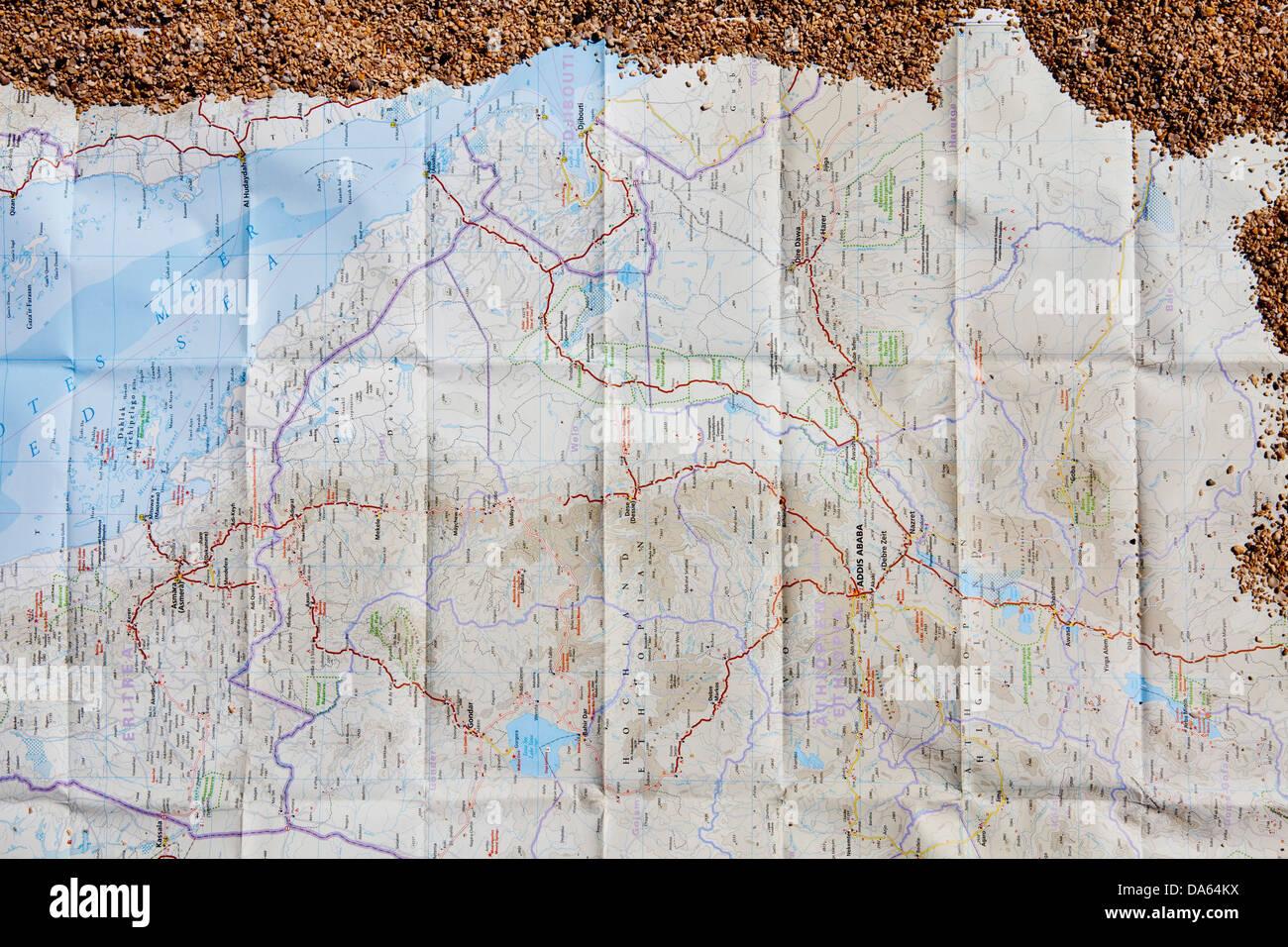 Karte, Karte, Äthiopien, Dschibuti, Afrika, Sand, Karte Stockbild