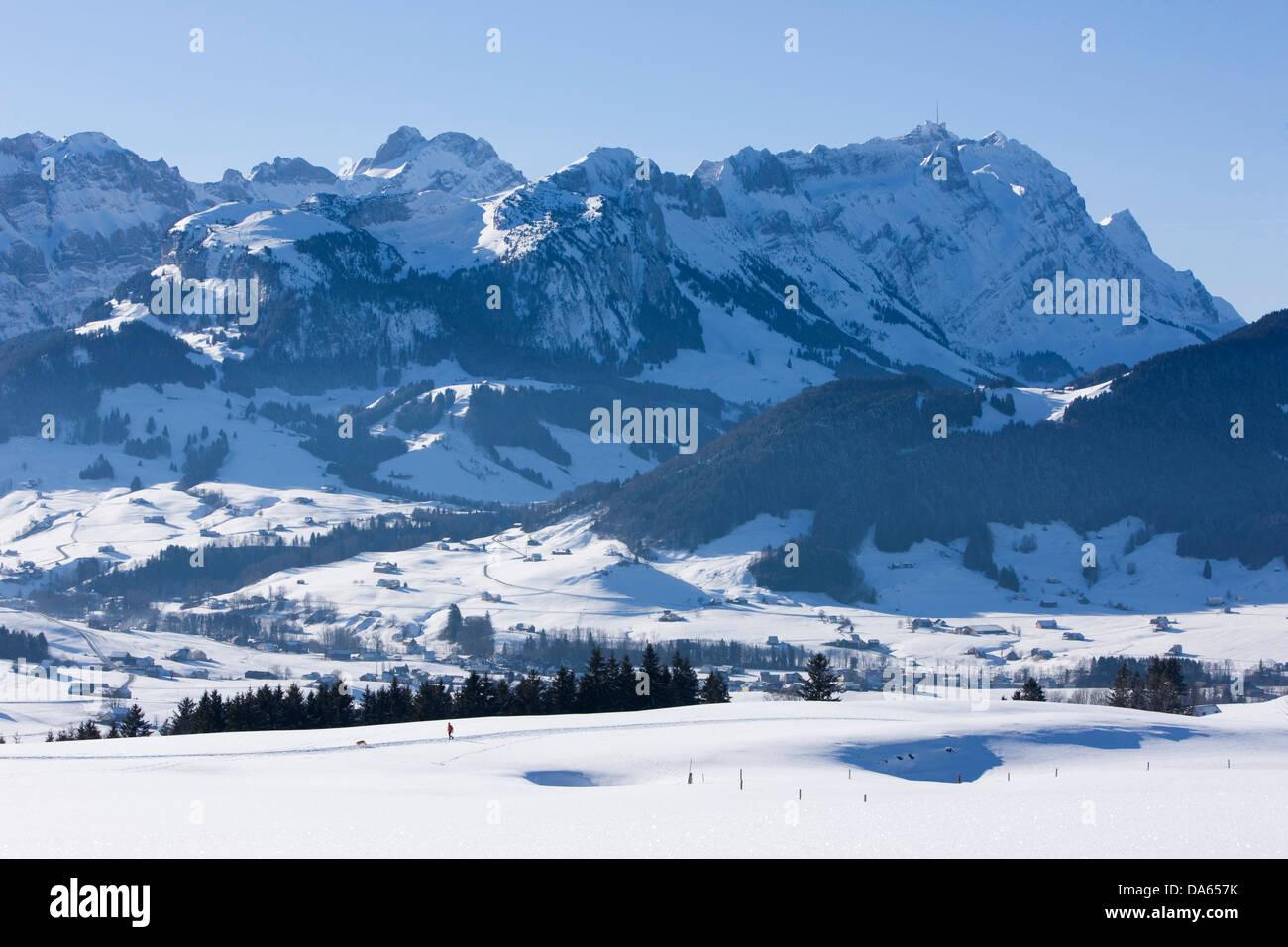 Säntis, Berg, Berge, Kanton Appenzell, Innerroden, Appenzell Bereich, Alpstein, Winter, Schweiz, Europa, Landschaft, Stockbild