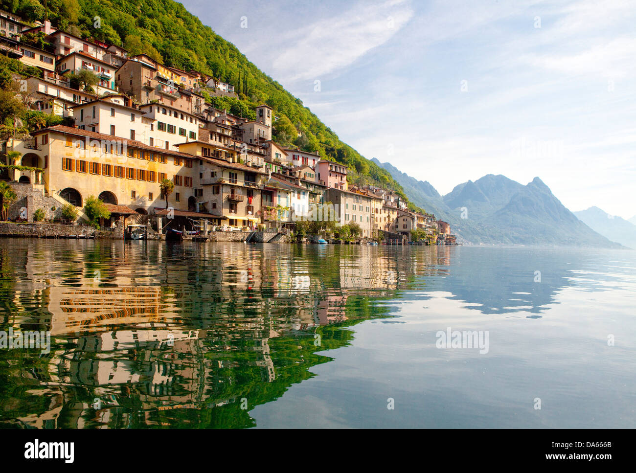 Gandria, Kanton, TI, Ticino, Südschweiz, Wasser, See, Seen, Dorf, Schweiz, Europa, Lago di Lugano, Stockbild
