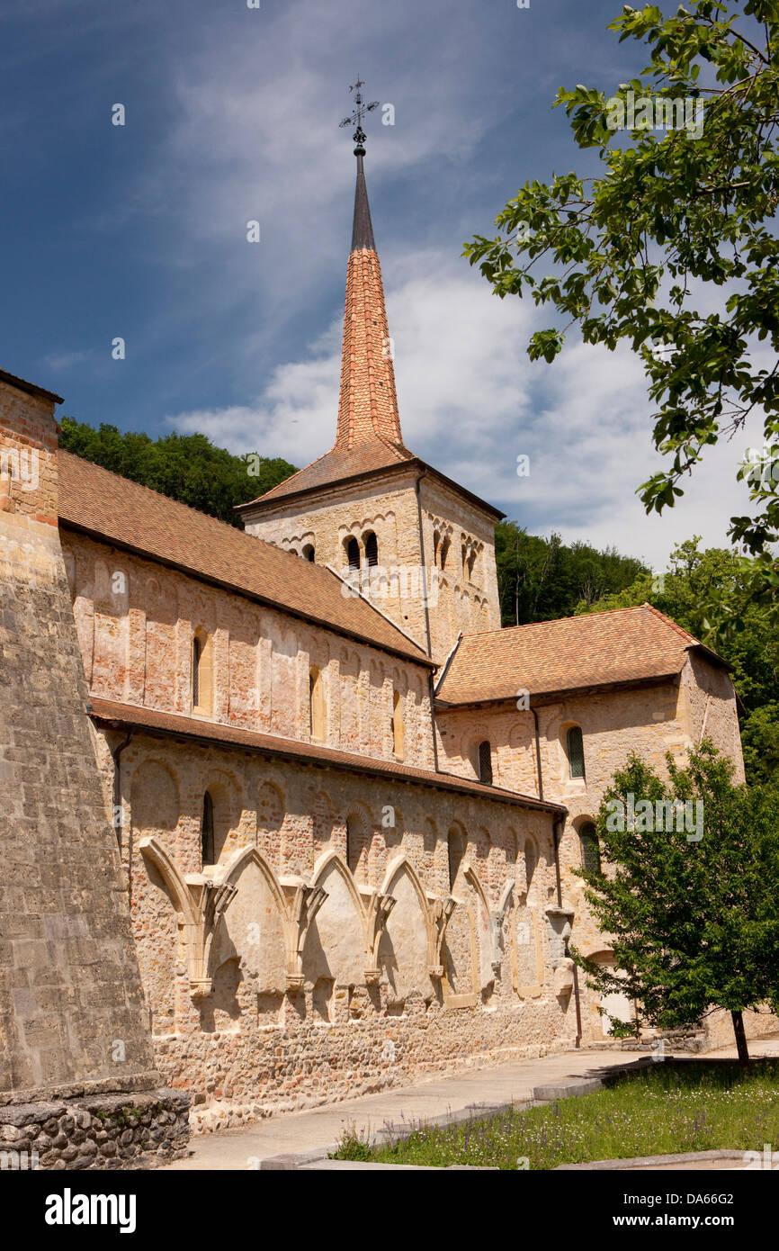 Romainmotier, Tourismus, Urlaub, Kanton, VD, Waadt, Kirche, Religion, Schweiz, Europa, Stockbild