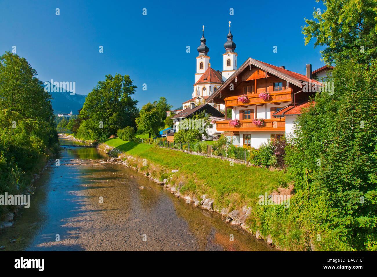Deutschland, Europa, Bayern, Oberbayern, Chiemgau, Aschau, Falknerei, Prien, Bau, Gebäude, Himmel, blauer Himmel, Stockbild