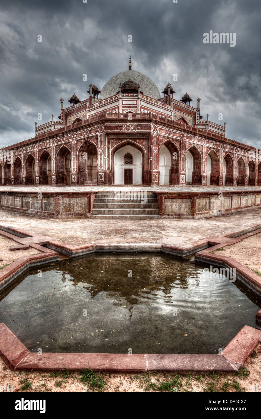 Humayun Mausoleum. Delhi, Indien. HDR-Bild Stockbild