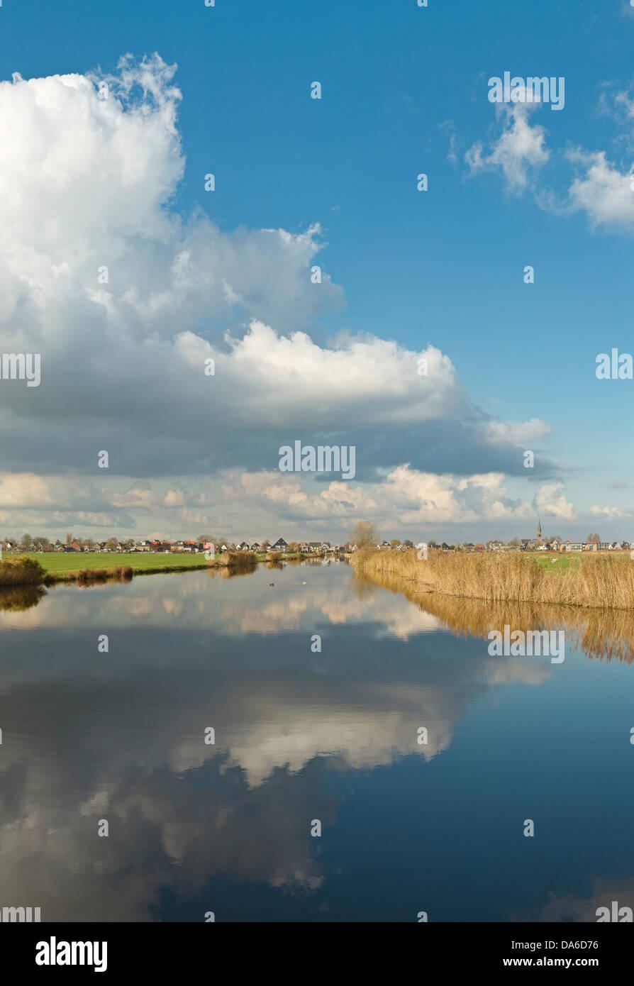 Holland, Niederlande, Europa, Wormer, Reflexionen, Ruhe, Wasser, Landschaft, Wasser, Winter, Wolken, Reflexionen, Stockbild
