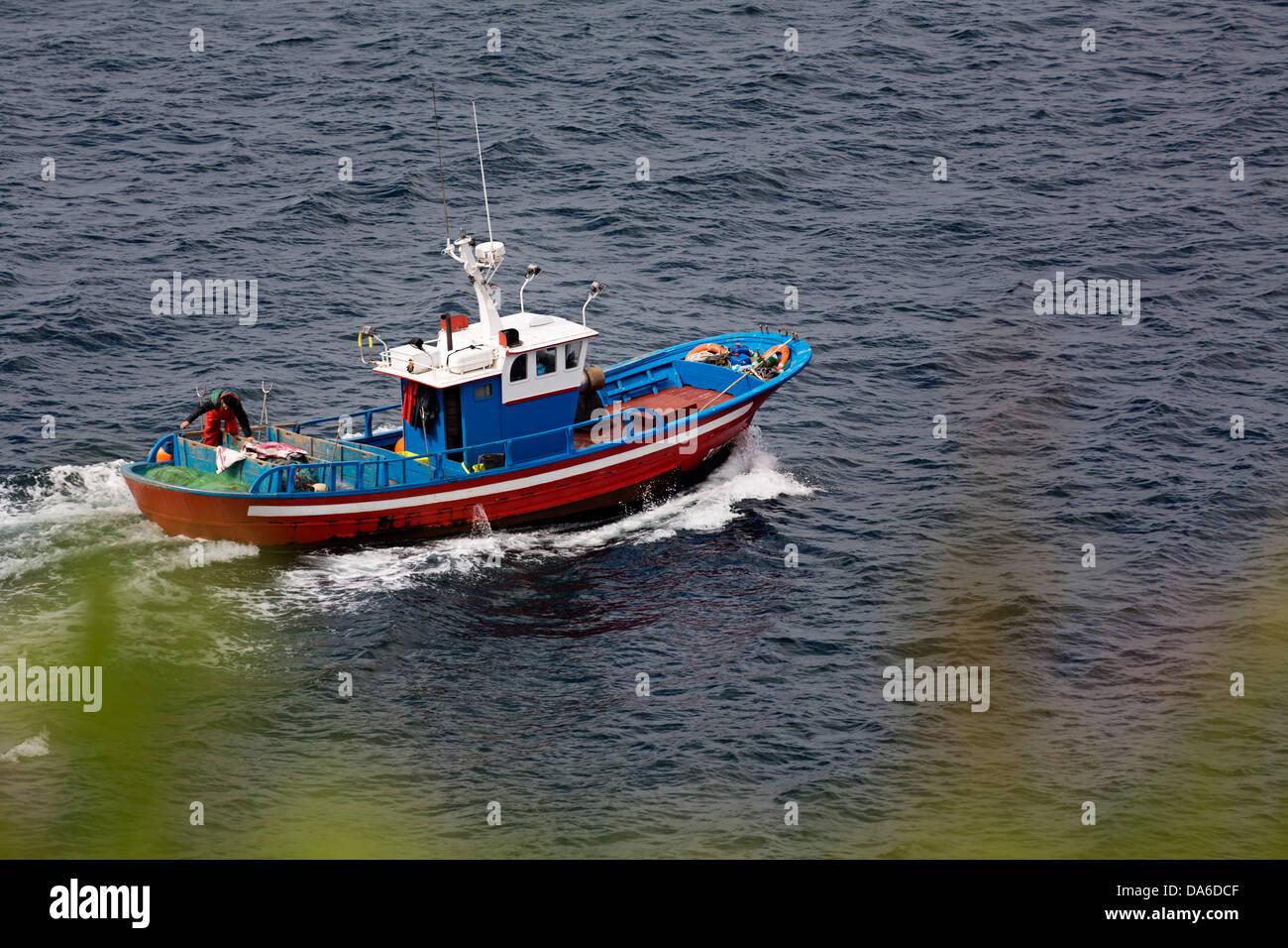 Angelboot/Fischerboot La Coruña Galizien Spanien Stockbild