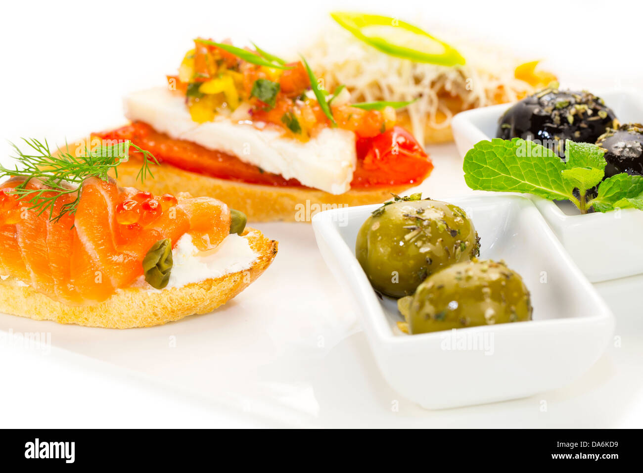 Spanische Sandwiches Meeresfrüchten bis hin zu Wein und Käse Gemüse Stockbild