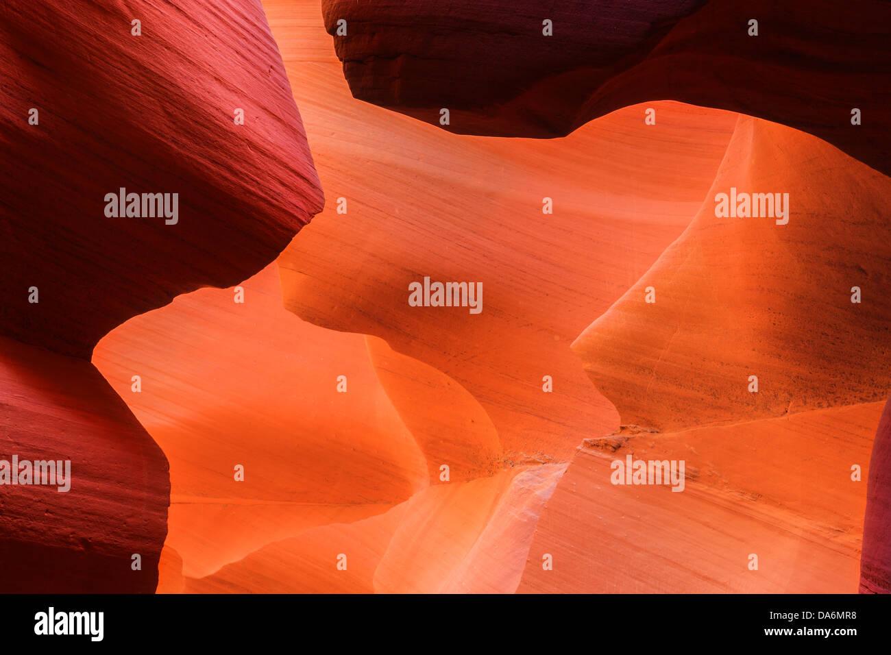 Linien und Strukturen im Lower Antelope Canyon, Page, Arizona Stockbild