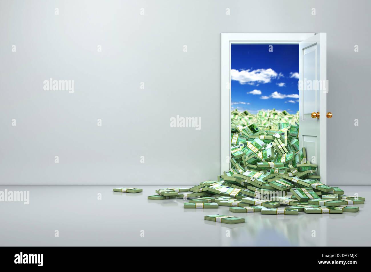 Konzept des Reichtums. Eröffnung Euro und Heap Dollar. 3D Stockbild
