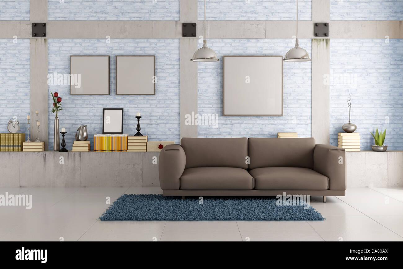 Braune Couch In Einem Loft Mit Mauer Und Betonpfeiler   Rendering