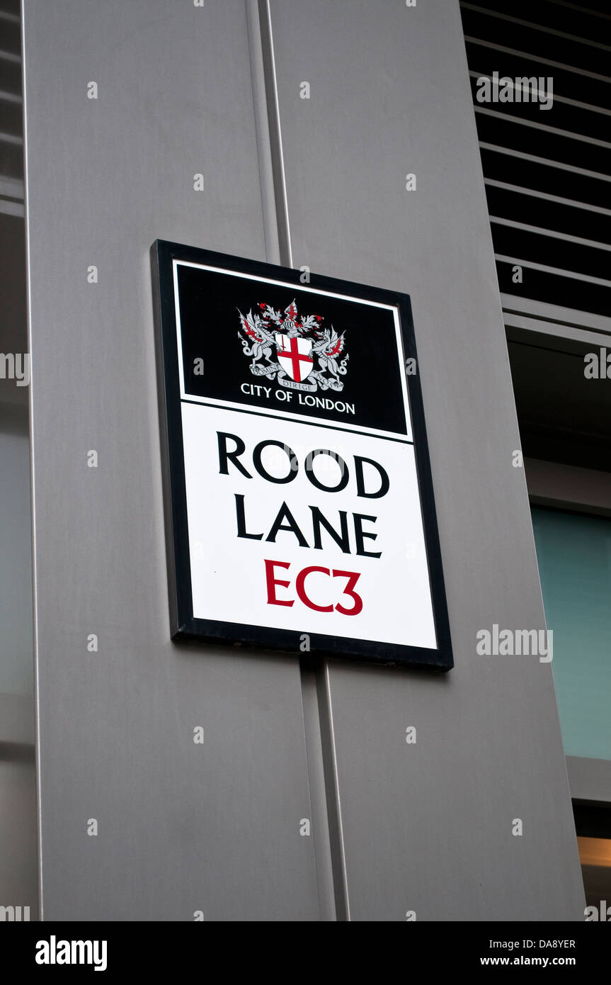 Rood Lane, EC3 der City of London, UK Stockbild