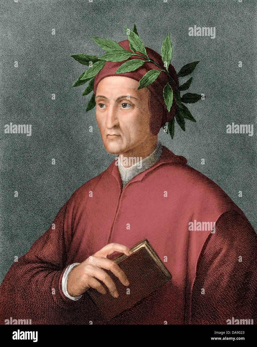 Dante Alighieri, Dichter der Renaissance. Digital farbige Gravur Stockbild