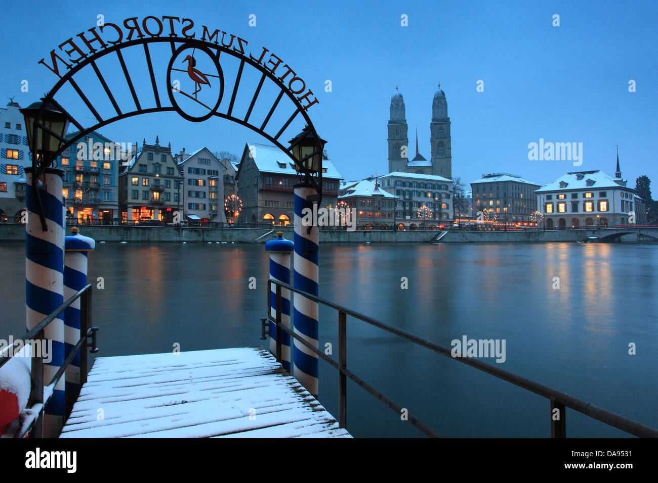 Advent, Beleuchtung, Beleuchtung, Adventszeit, Old Town, Landung, Bühne, Bootssteg, Stadt, Dämmerung, Stockbild