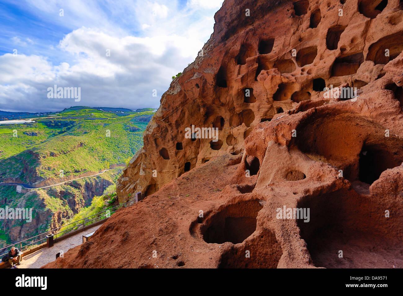 Valerón, Kloster, Höhlen, Spanien, Europa, Kanarische Inseln, Cenobio, Gran Canaria, Valerón, Essen, Stockbild