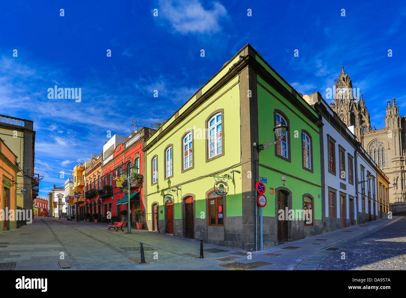 Arucas, Spanien, Europa, Kanarische Inseln, Gran Canaria, Architektur, Stadt, bunten, Innenstadt, Insel, Tourismus, Stockbild