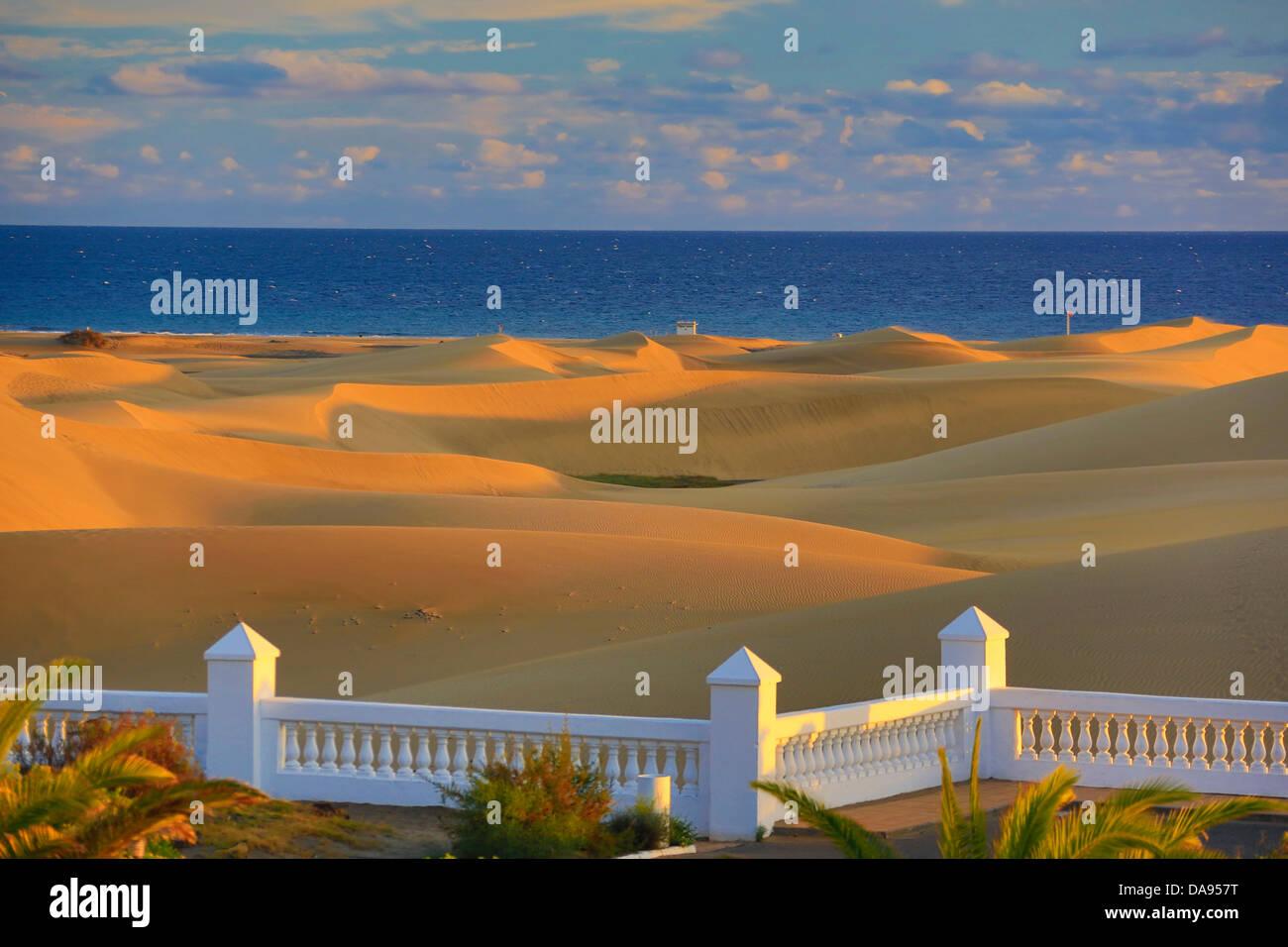 Spanien, Europa, Kanarische Inseln, Gran Canaria, Maspalomas, Stadt, bunten, Dünen, Wüste, berühmt, Stockbild
