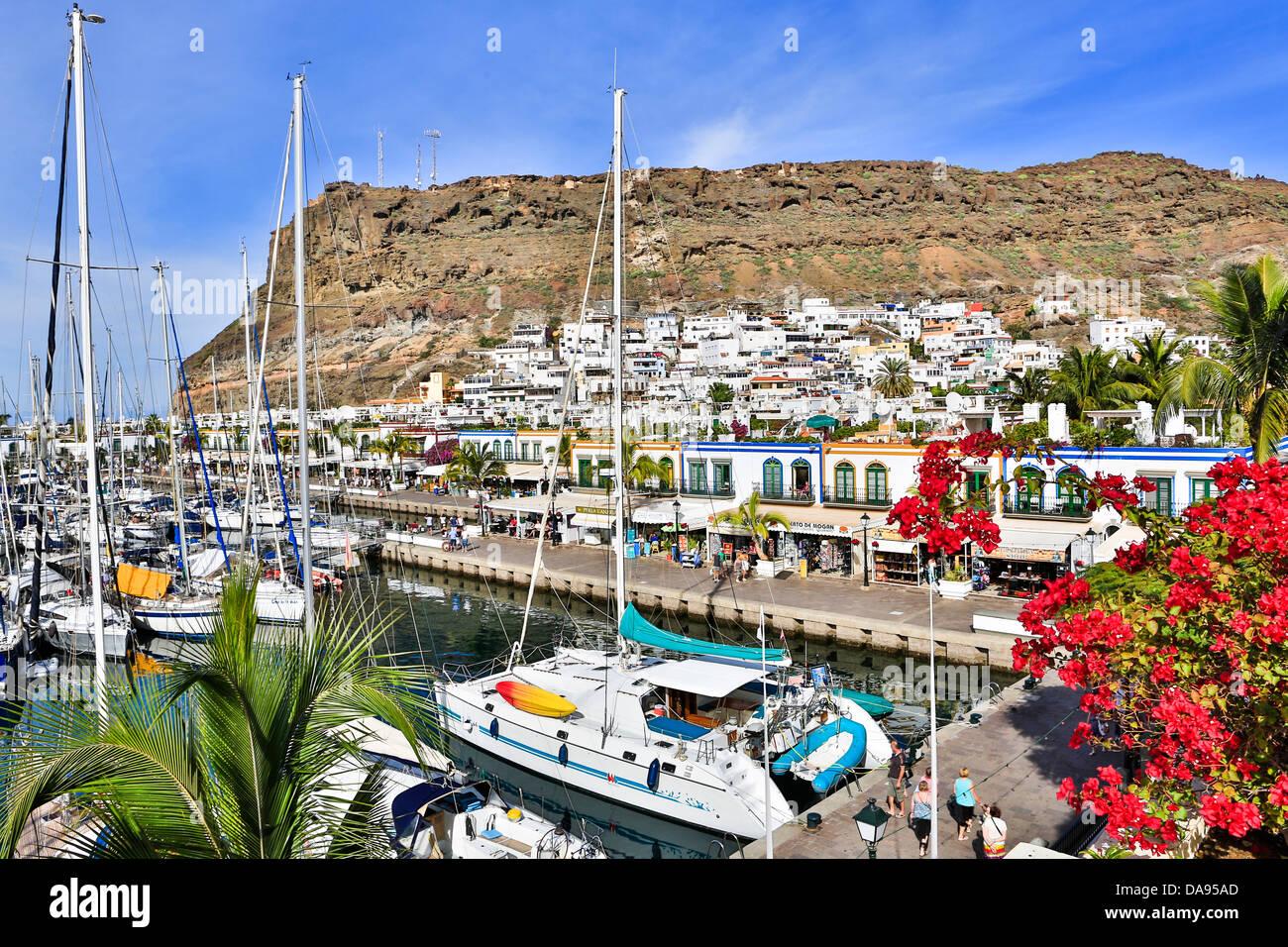Spanien, Europa, Kanarische Inseln, Gran Canaria, Mogan, Puerto, Architektur, Strand, Stadt, bunt, Hafen, Insel, Stockbild