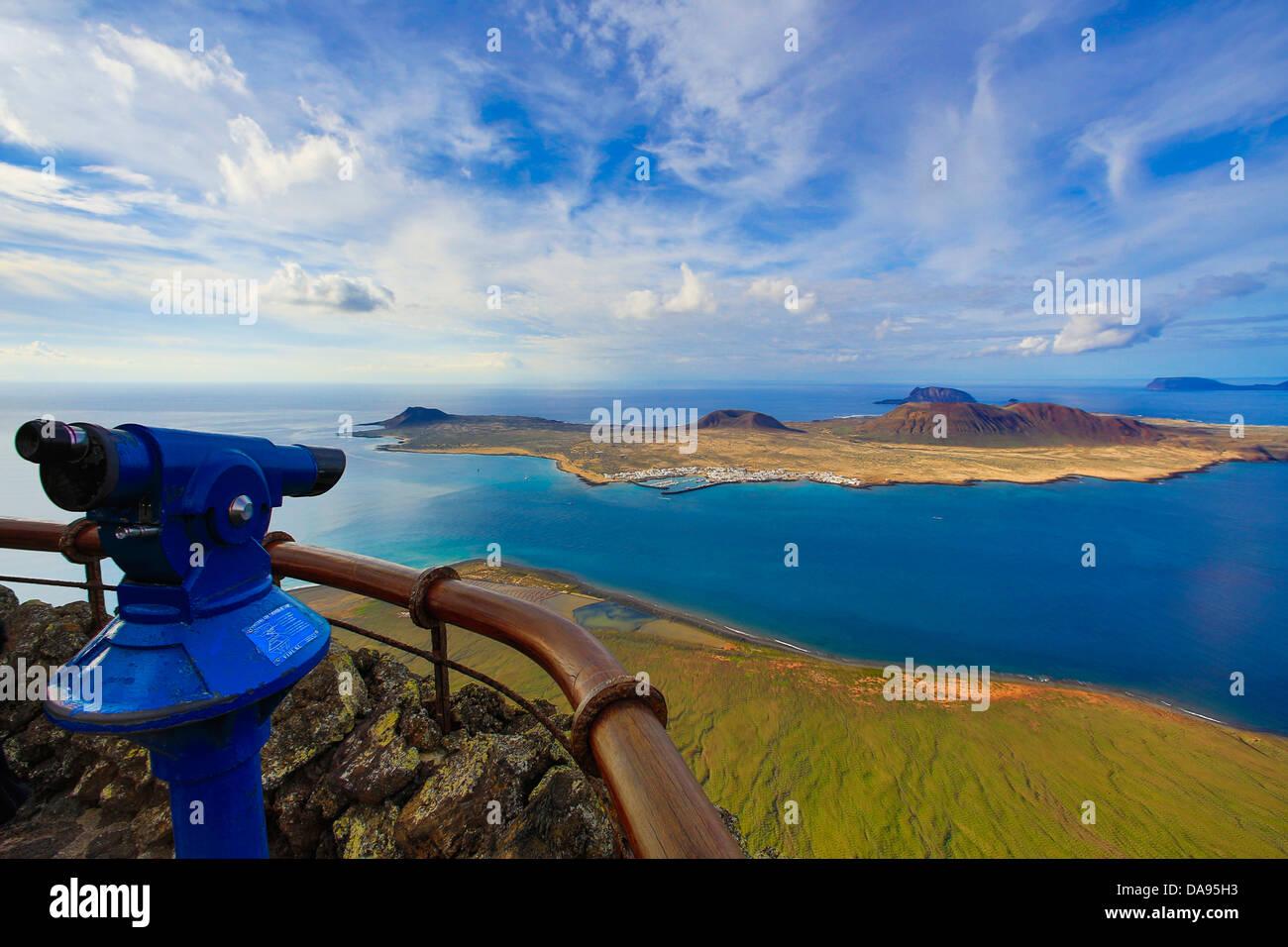 Spanien, Europa, Kanarische Inseln, Chinijo, Lanzarote, Mirador del Rio, Naturpark, blau, Isla Graciosa, Graciosa, Stockbild