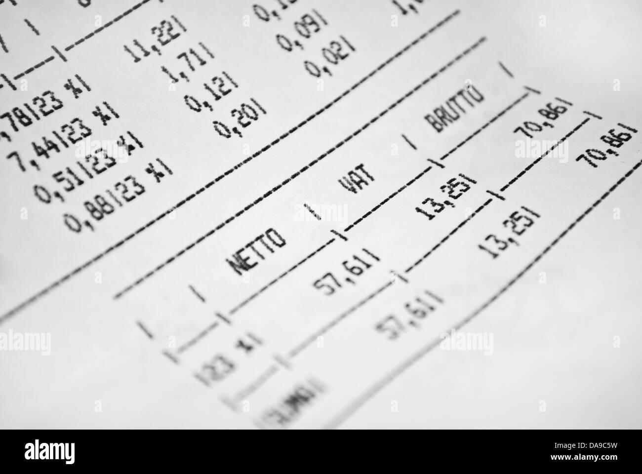 Rechnung Mappe Mit Brutto Und Netto Preise Und Mehrwertsteuer
