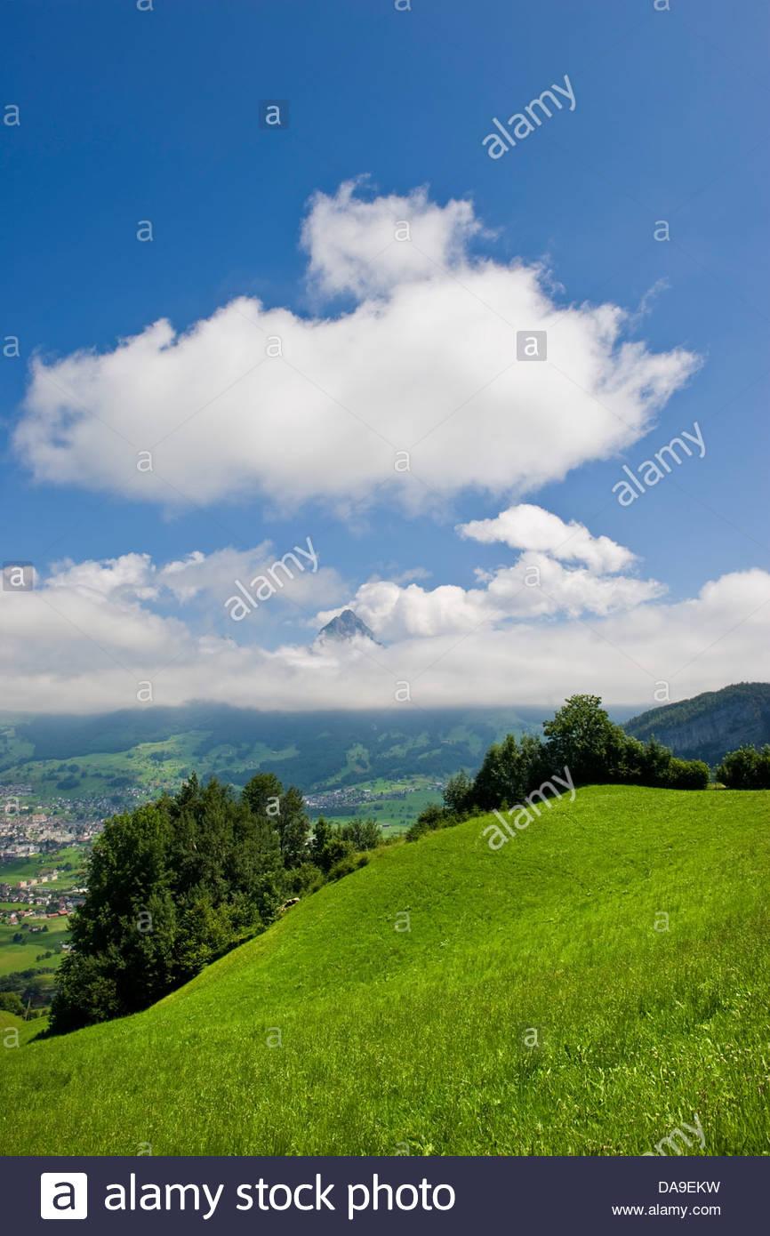 Schweiz, Kanton Schwyz, Brunnen, Landschaft Stockbild