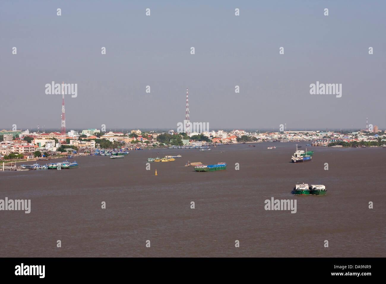 Asien, Boot, Delta, Fluss, Flüsse, Haus, Haus, Leben, Mekong, mein, Schiff, Stadt, Stadt, Stream, Tho, transport, Stockbild