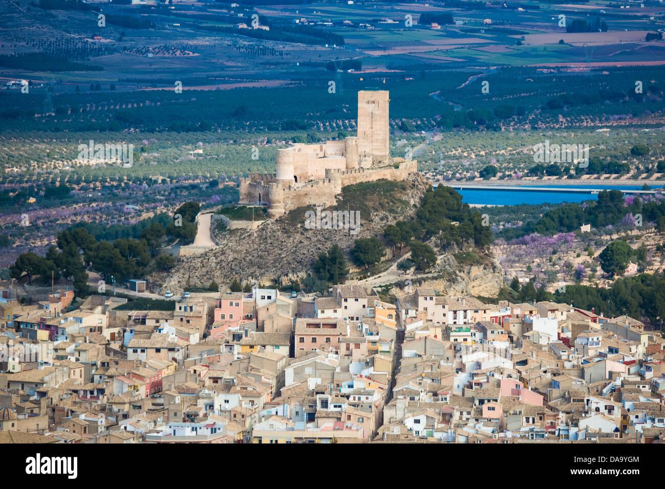 Spanien, Europa, Valencia, Architektur, Gebäude, Burg, Hügel, historisch, Geschichte, Pueblo, Skyline, Stockbild