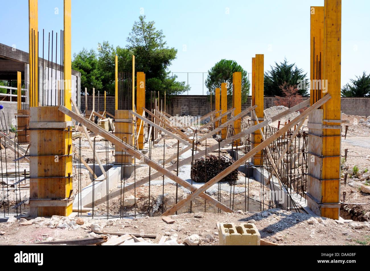 Baustelle - Zimmerei Betonkonstruktion Schalung Stockfoto, Bild ...
