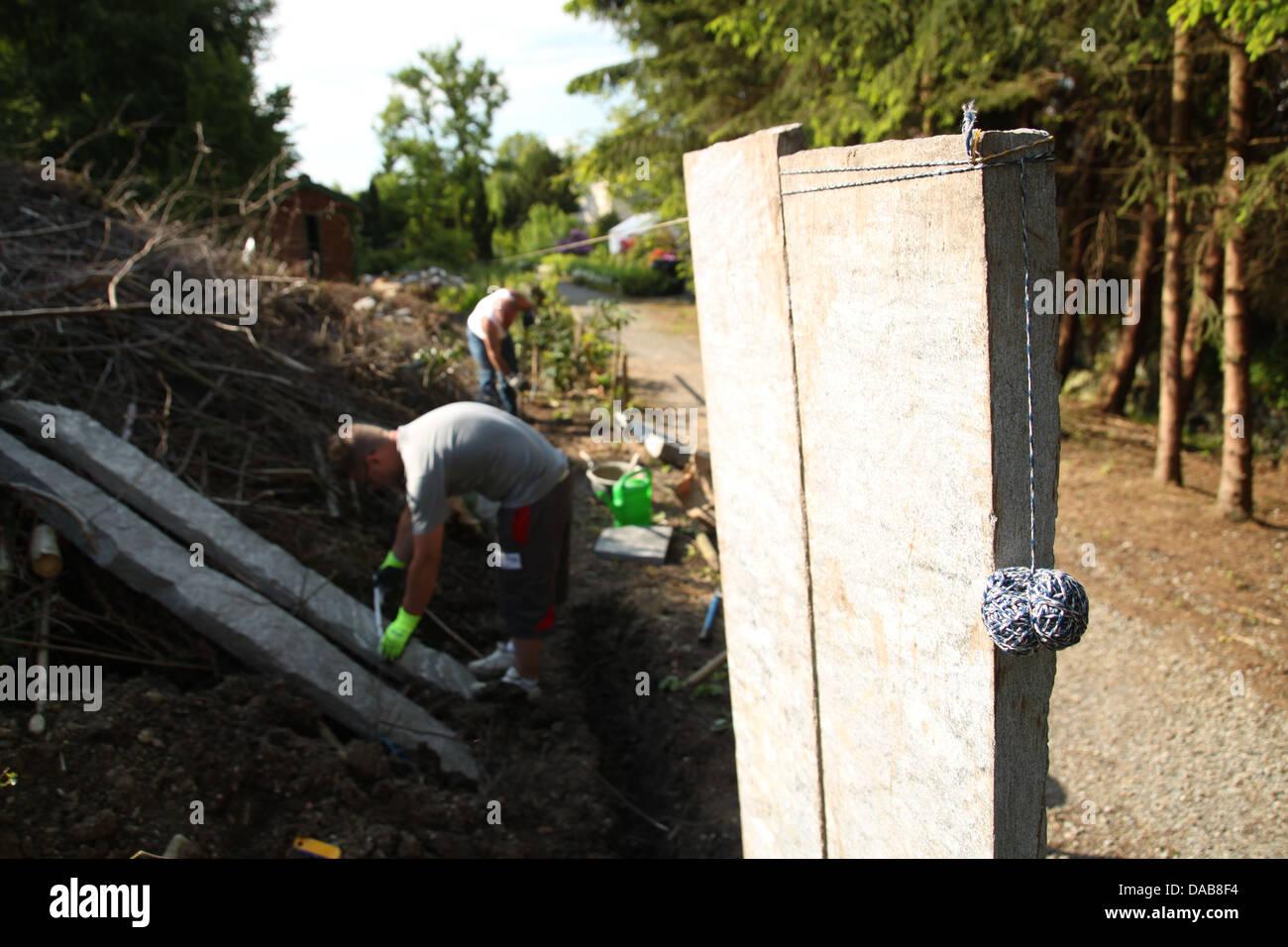 Dekoration Von Garten Und Grenze Zaun Mit Vertikalen Palisade Granit