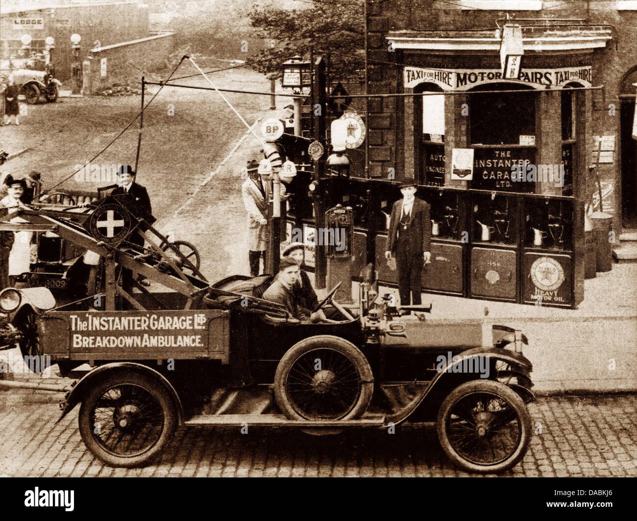 Levenshulme Motor Garage wohl 1920er Jahre Stockbild