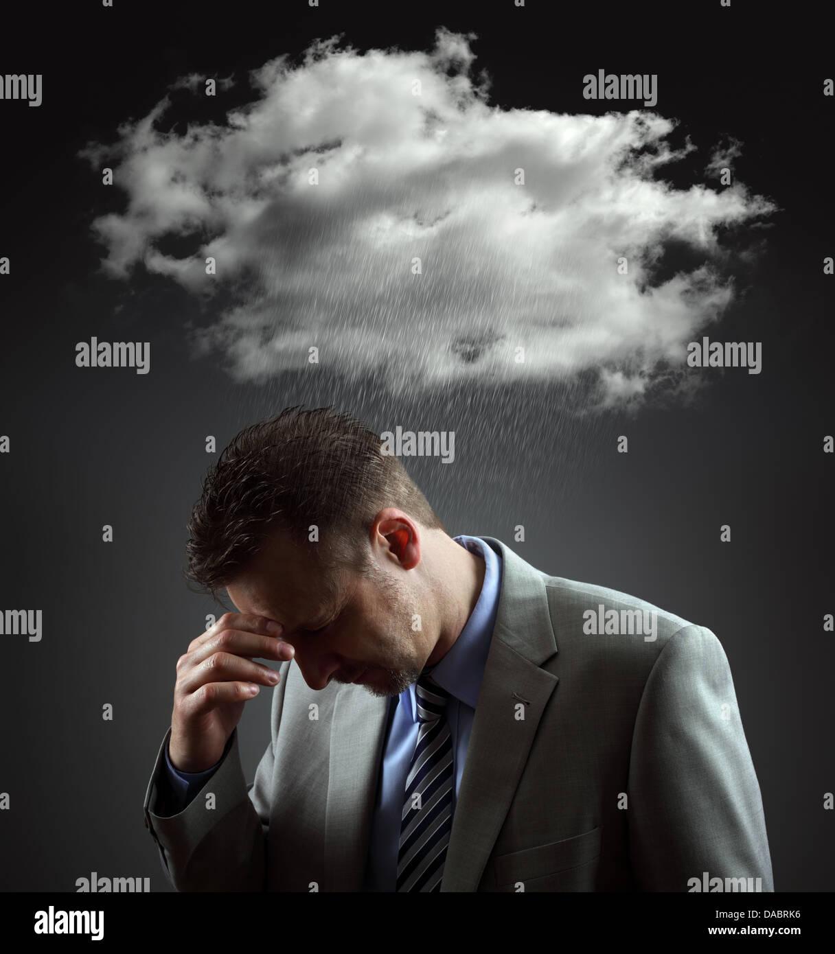 Deprimiert Geschäftsmann Stockbild