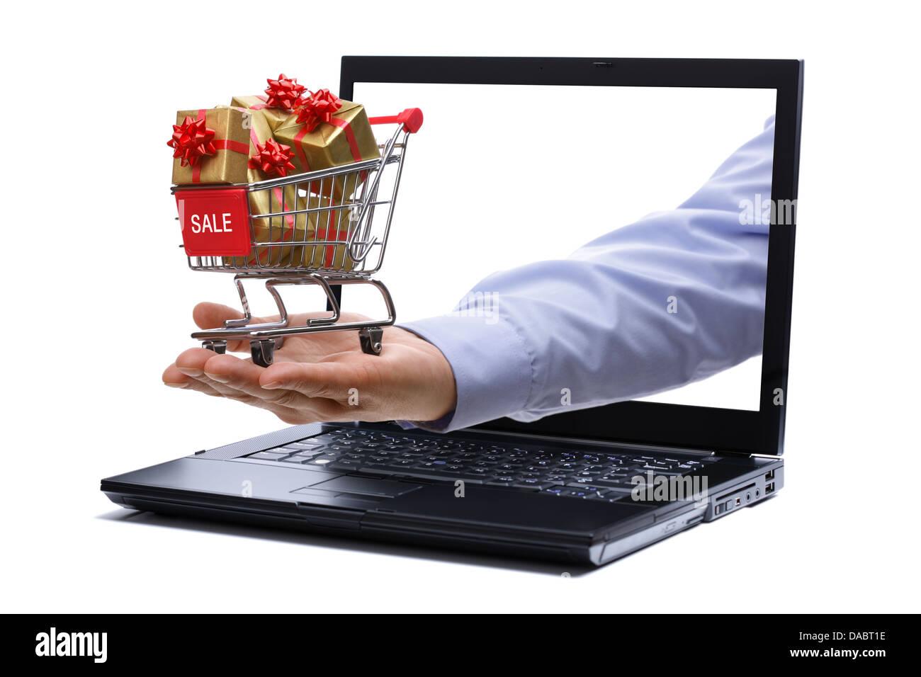 E-Commerce Geschenk einkaufen Stockbild